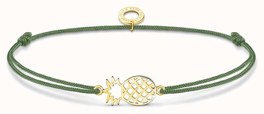 Thomas Sabo Little Secrets   Green Nylon Gold Plated Pineapple Bracelet LS122-379-6-L20V