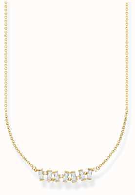 Thomas Sabo Gold Plated White Stones Necklace KE2095-414-14-L45V