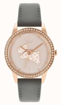 Radley Women's Grey Leather Strap | Rose Gold Dog Motif Dial RY21182