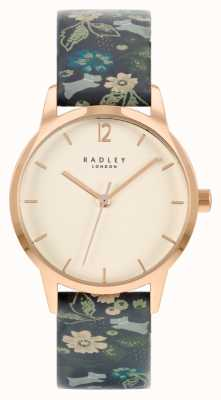 Radley Women's Black Floral Leather Strap | White Dial RY21234A