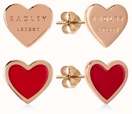 Radley Jewellery Love Letters | Rose Gold Plated & Red Heart Stud Earrings RYJ1154S-CARD