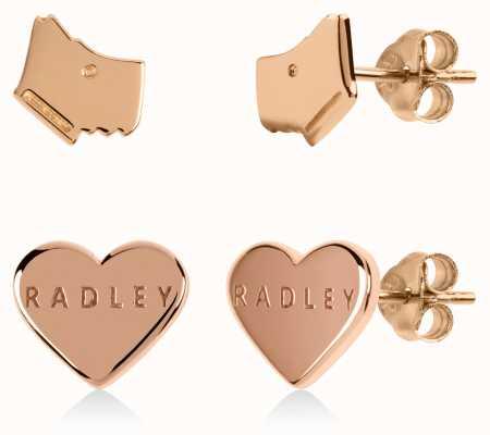 Radley Jewellery Love Heart | Gold Plated Dog Head & Heart Stud Earrings Set RYJ1164S-CARD
