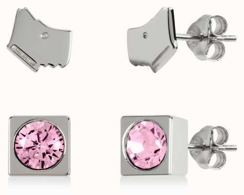 Radley Jewellery Radley Rocks | Sterling Silver Dog Head & Square Stud Earring Set RYJ1161S-CARD