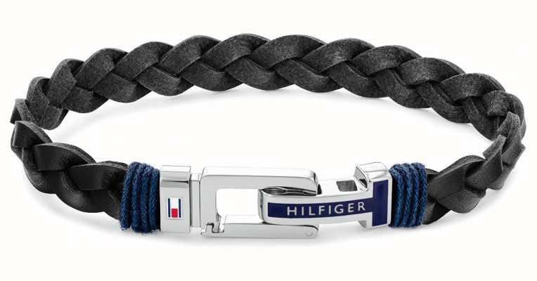 Tommy Hilfiger Casual | Men's Black Leather Bracelet 2790307