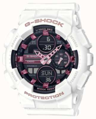 Casio G-Shock | Unisex Sports | White Resin Strap | Black Dial GMA-S140M-7AER