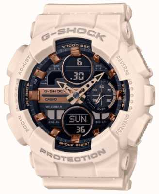 Casio G-Shock |Unisex Sports | Pale Pink Resin Strap | Black Dial GMA-S140M-4AER