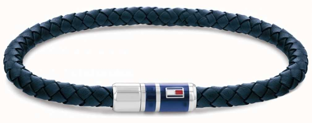 Tommy Hilfiger Men's Blue Casual Leather Braided Bracelet 2790294