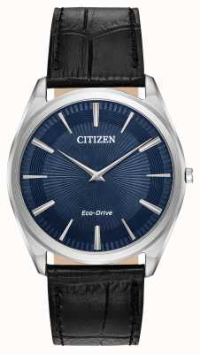 Citizen Stiletto | Men's Eco Drive | Black Leather Strap | Blue Dial AR3070-04L