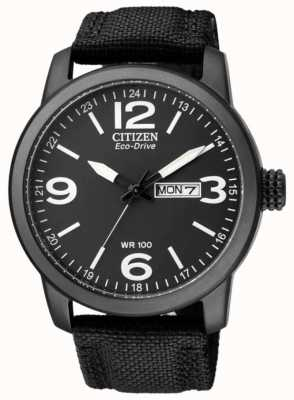 Citizen Men's Eco-Drive | Military Sport | Black Nylon Strap | Black Dial BM8475-34E