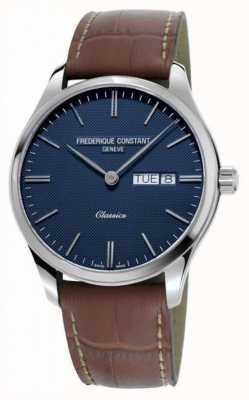 Frederique Constant Men's Classic Quartz   Brown Leather Strap   Blue Dial FC-225NT5B6
