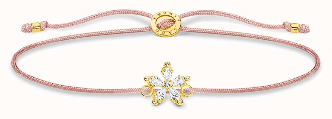 Thomas Sabo Little Secrets   Pink Nylon Bracelet   Flower Charm LS119-379-19-L20V