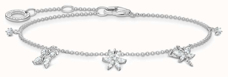 Thomas Sabo Sterling Silver Bracelet   White Flowers & Butterfly Charms A2027-051-14-L19V