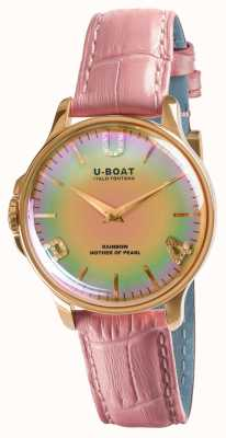 U-Boat RAINBOW 38MM PINK IP GOLD Pink Leather Strap 8473