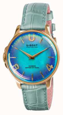 U-Boat RAINBOW 38MM BLUE IP GOLD BLUE LEATHER STRAP 8475