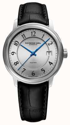 Raymond Weil | Maestro | Automatic | Silver Arabic Dial | Black Leather Strap 2237-STC-05658