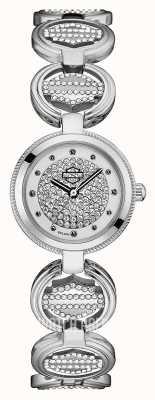 Harley Davidson Women's Crystal Set Coin Link Bracelet | Crystal Dial 76L179