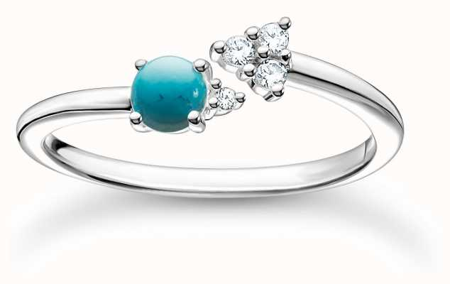 Thomas Sabo Silver Zirconia Turquoise Ring   Size 56 (UK O 1/2 ) TR2345-405-17-56