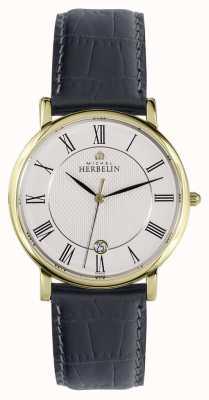 Michel Herbelin Sonates | 38mm | White Dial | Black Leather Strap 12248/P08