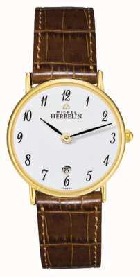 Michel Herbelin Sonates | 26mm | White Dial | Brown Leather Strap 16845/P28GO
