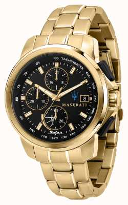 Maserati Successo Solar Gents Gold Plated Watch R8873645002