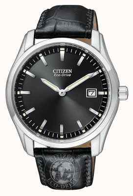 Citizen Mens Eco-Drive Black Dial with Genuine Leather Strap AU1040-08E