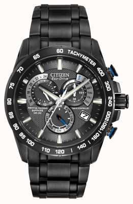 Citizen Mens Radio Controlled Perpetual A-T Chronograph Black IP AT4007-54E