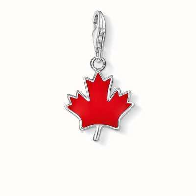 Thomas Sabo Maple Leaf Charm Red 925 Sterling Silver Cold Enamel 0892-007-10