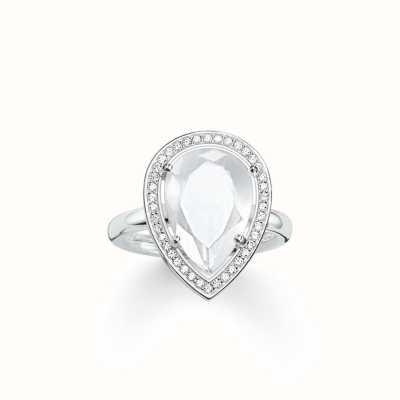 Thomas Sabo Ring White 925 Sterling Silver/ Milky Quartz/ Zirconia TR2043-690-14-54