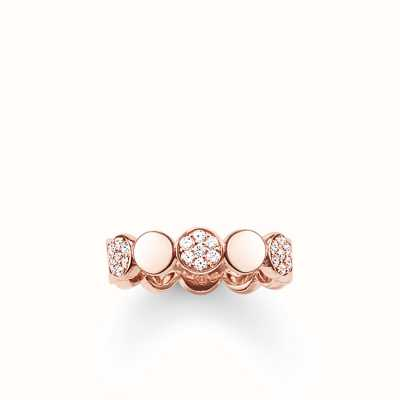 Thomas Sabo Ring White 925 Sterling Silver Gold Plated Rose Gold/ Zirconia TR2048-416-14-56