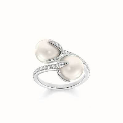 Thomas Sabo Ring White 925 Sterling Silver/ Freshwater Pearl/ Zirconia TR2079-167-14-54